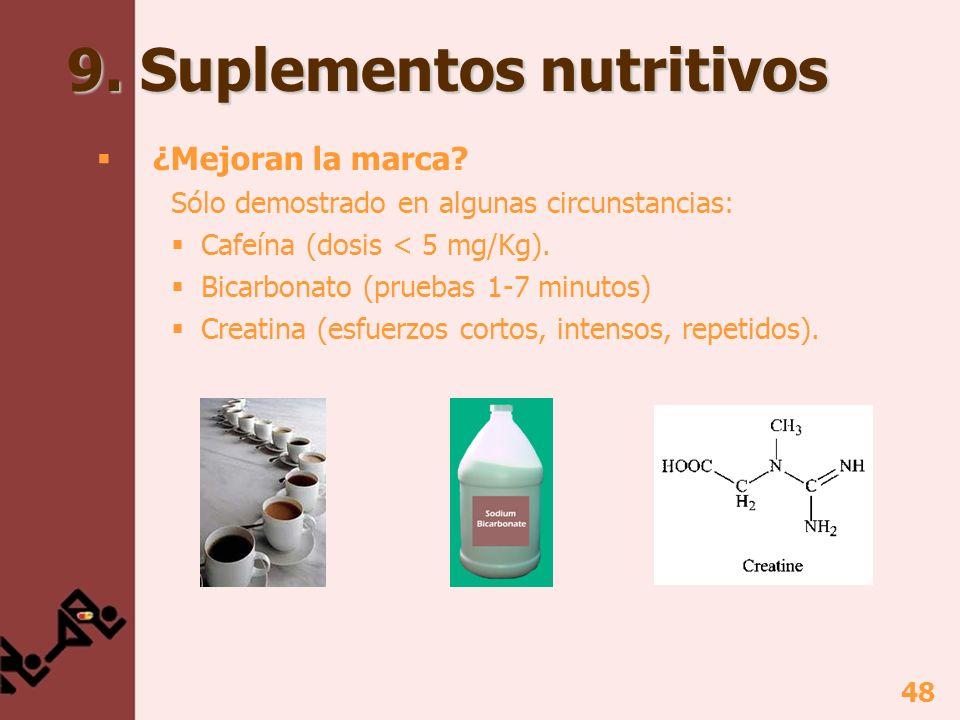 48 9. Suplementos nutritivos ¿Mejoran la marca? Sólo demostrado en algunas circunstancias: Cafeína (dosis < 5 mg/Kg). Bicarbonato (pruebas 1-7 minutos