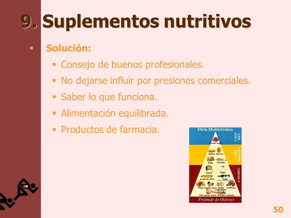 50 9. Suplementos nutritivos Solución: Consejo de buenos profesionales. No dejarse influir por presiones comerciales. Saber lo que funciona. Alimentac