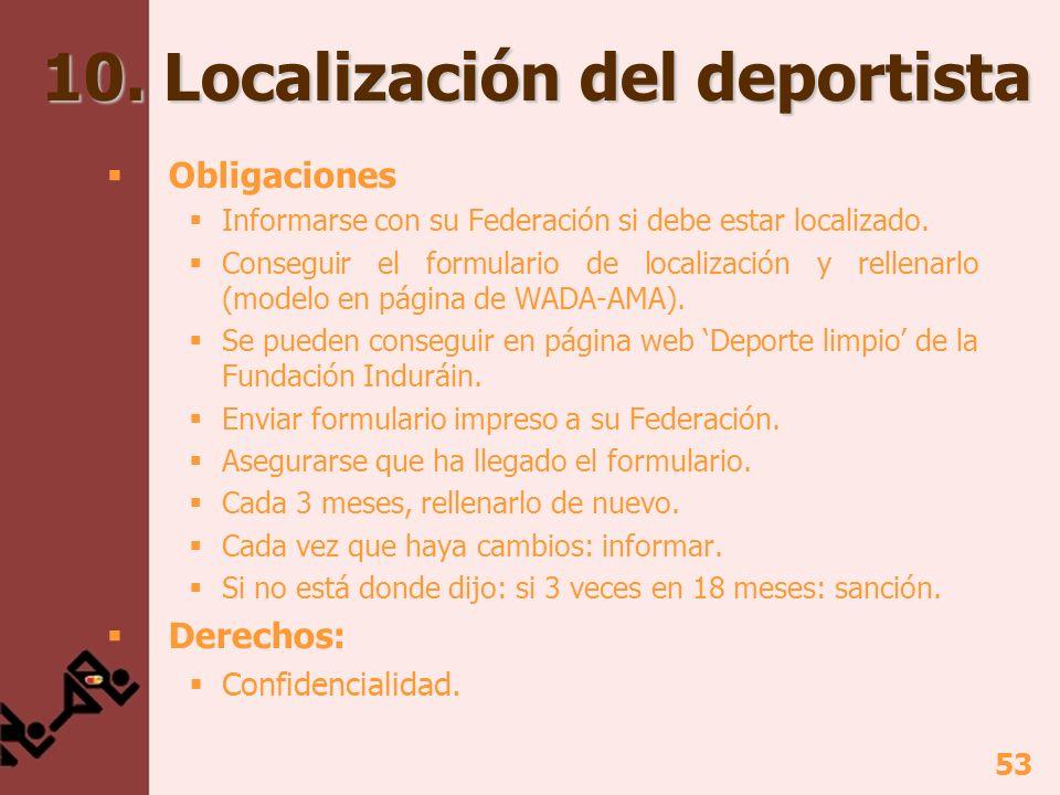 53 10. Localización del deportista Obligaciones Informarse con su Federación si debe estar localizado. Conseguir el formulario de localización y relle