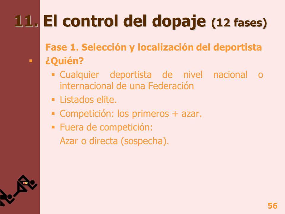 56 11. El control del dopaje (12 fases) Fase 1. Selección y localización del deportista ¿Quién? Cualquier deportista de nivel nacional o internacional