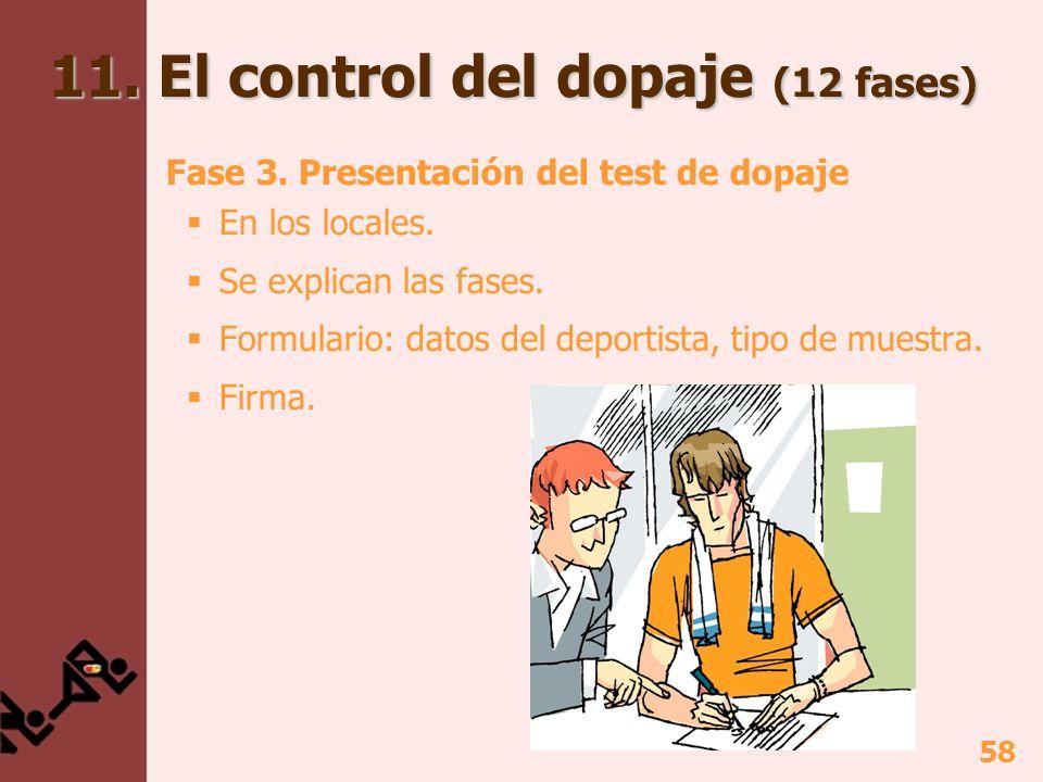 58 Fase 3. Presentación del test de dopaje En los locales. Se explican las fases. Formulario: datos del deportista, tipo de muestra. Firma. 11. El con
