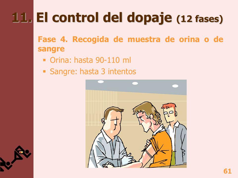 61 Fase 4. Recogida de muestra de orina o de sangre Orina: hasta 90-110 ml Sangre: hasta 3 intentos 11. El control del dopaje (12 fases)