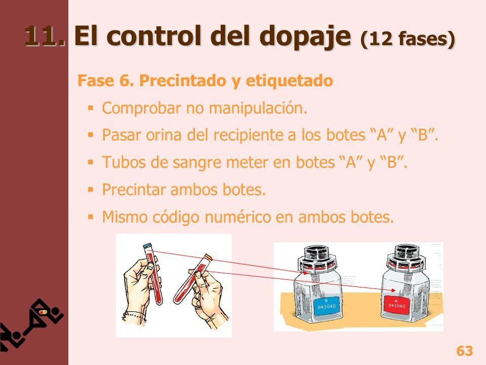 63 11. El control del dopaje (12 fases) Fase 6. Precintado y etiquetado Comprobar no manipulación. Pasar orina del recipiente a los botes A y B. Tubos