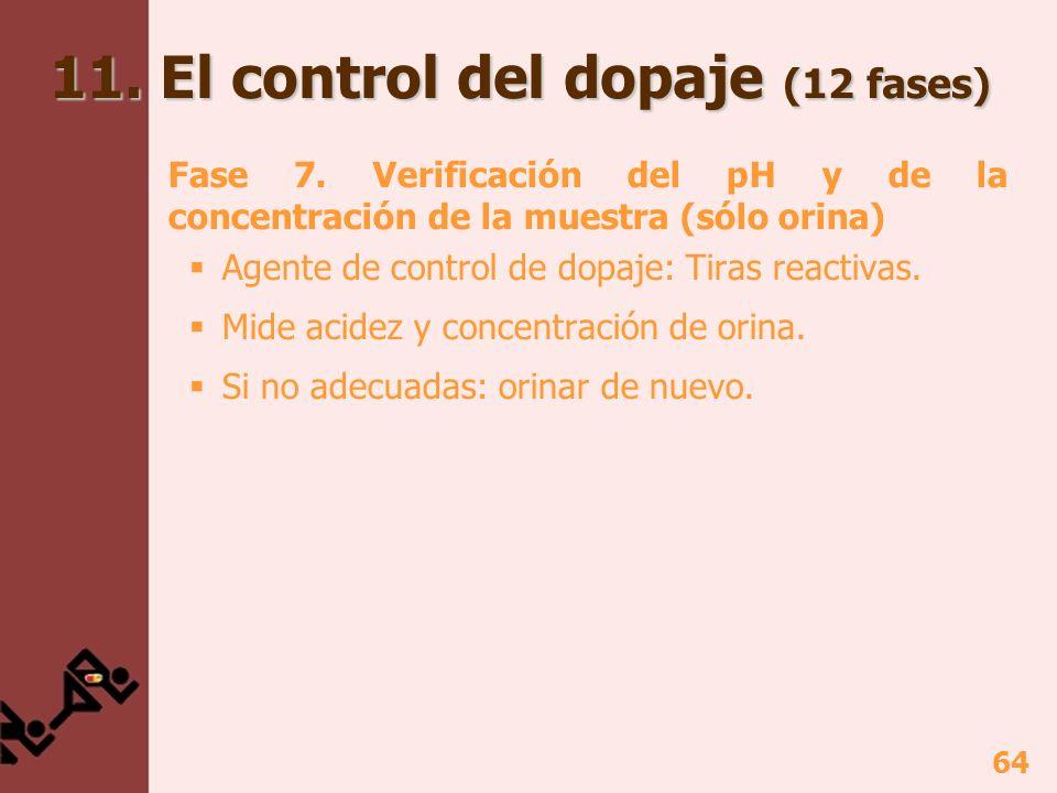 64 11. El control del dopaje (12 fases) Fase 7. Verificación del pH y de la concentración de la muestra (sólo orina) Agente de control de dopaje: Tira