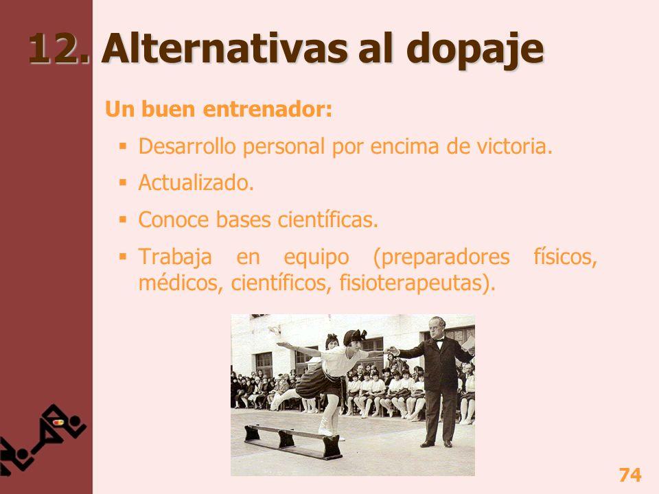 74 12.Alternativas al dopaje Un buen entrenador: Desarrollo personal por encima de victoria.