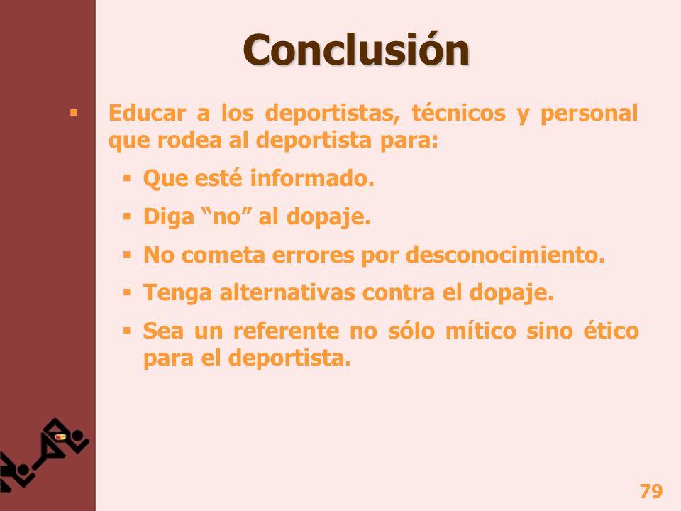 79 Conclusión Conclusión Educar a los deportistas, técnicos y personal que rodea al deportista para: Que esté informado.