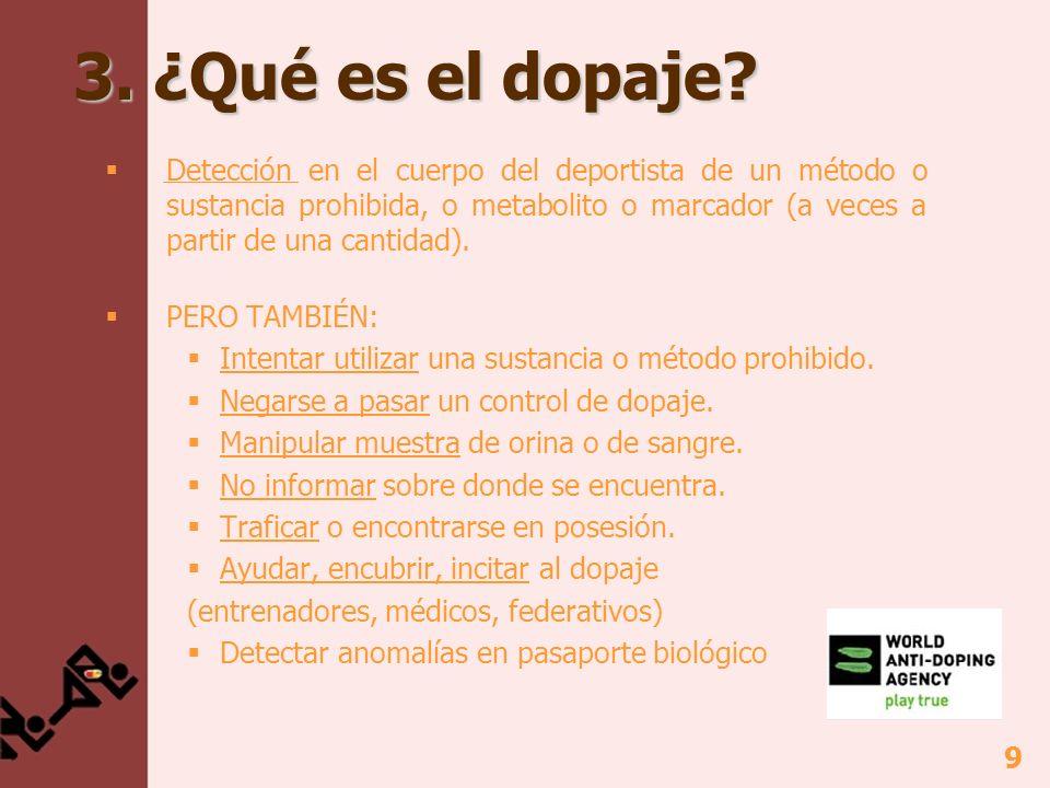 9 3. ¿Qué es el dopaje? Detección en el cuerpo del deportista de un método o sustancia prohibida, o metabolito o marcador (a veces a partir de una can