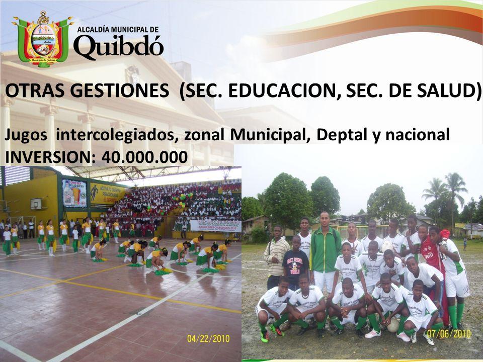 Promoción de actividad recreativa en instituciones educativas INVERSION: 2000000$