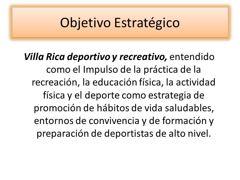 Objetivo Estratégico Villa Rica deportivo y recreativo, entendido como el Impulso de la práctica de la recreación, la educación física, la actividad f