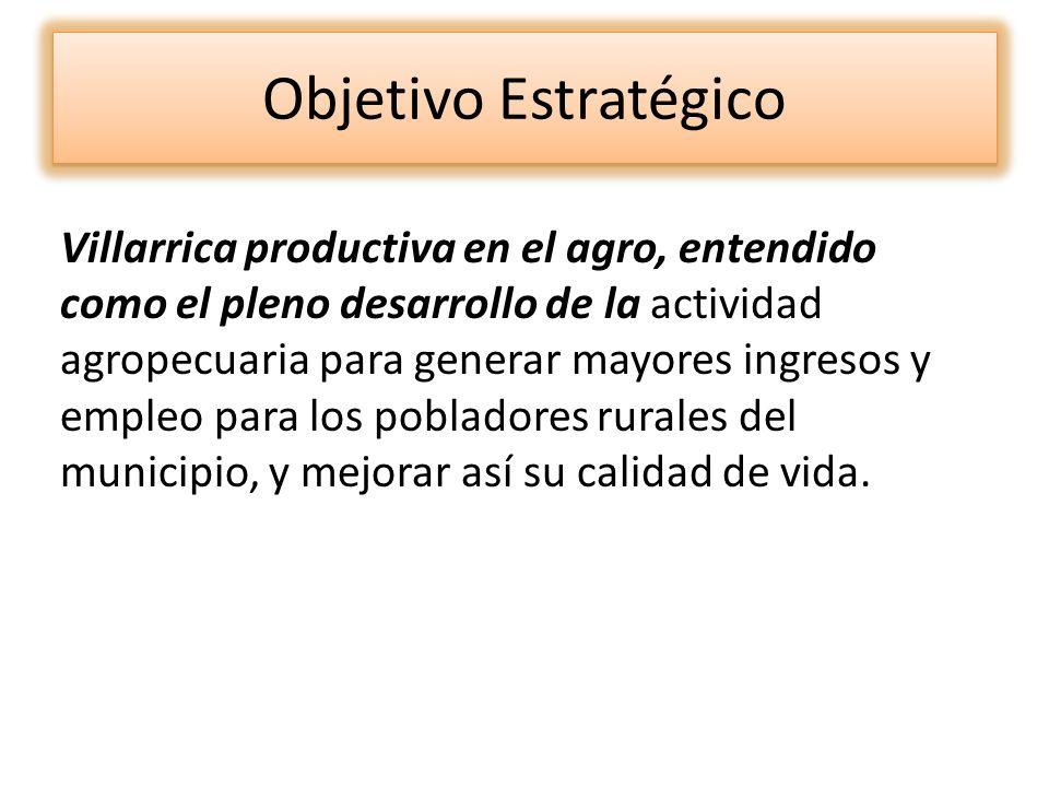 Objetivo Estratégico Villarrica productiva en el agro, entendido como el pleno desarrollo de la actividad agropecuaria para generar mayores ingresos y