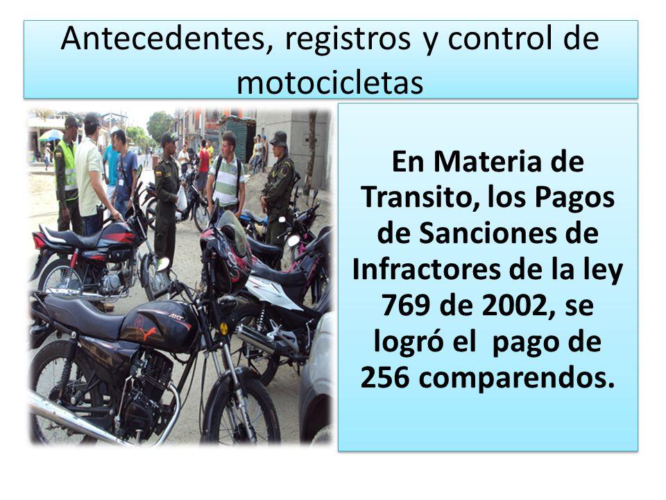 Antecedentes, registros y control de motocicletas En Materia de Transito, los Pagos de Sanciones de Infractores de la ley 769 de 2002, se logró el pag