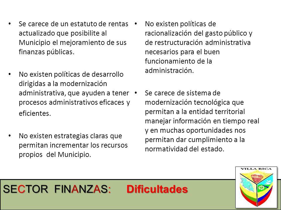 Se carece de un estatuto de rentas actualizado que posibilite al Municipio el mejoramiento de sus finanzas públicas. No existen políticas de desarroll