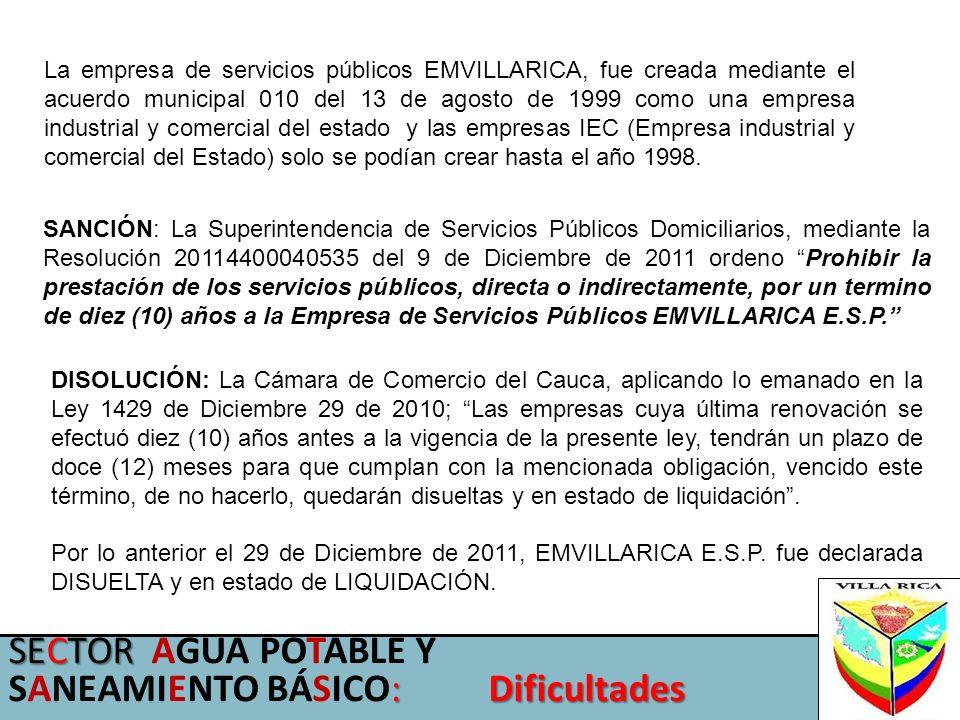 La empresa de servicios públicos EMVILLARICA, fue creada mediante el acuerdo municipal 010 del 13 de agosto de 1999 como una empresa industrial y come