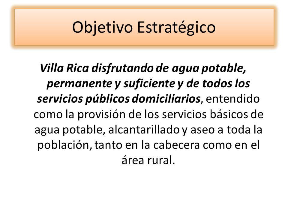 Objetivo Estratégico Villa Rica disfrutando de agua potable, permanente y suficiente y de todos los servicios públicos domiciliarios, entendido como l