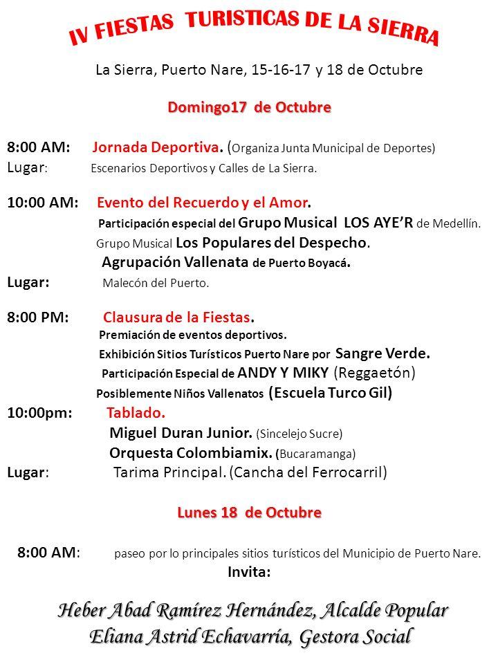 Patrocinadores IV Fiestas de La Sierra SIN: Servicio Inmediato Nacional.