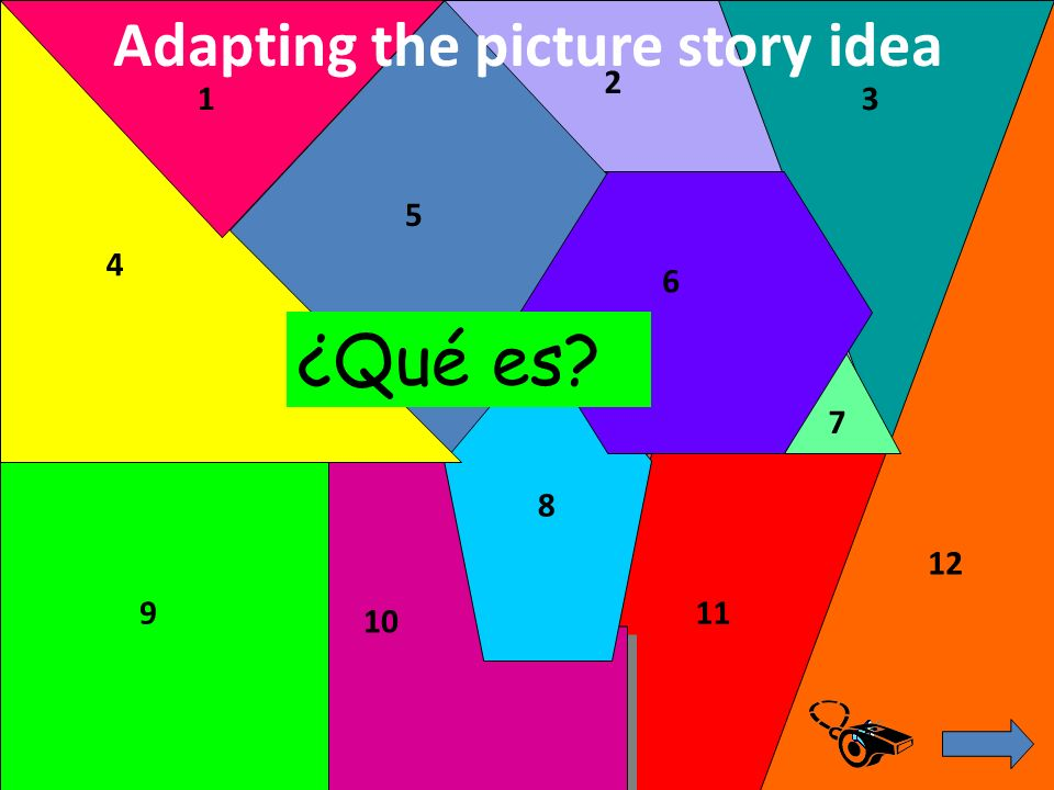 2 3 4 5 6 7 8 9 10 11 12 1 ¿Qué es? Adapting the picture story idea