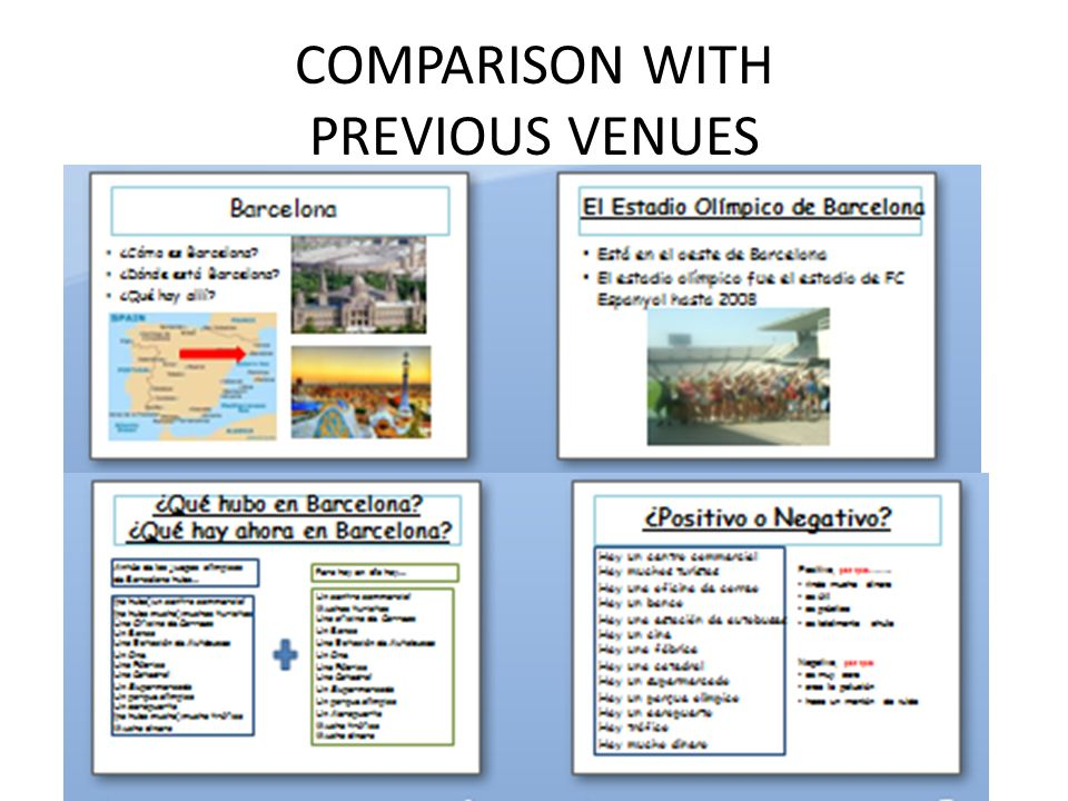 COMPARISON WITH PREVIOUS VENUES