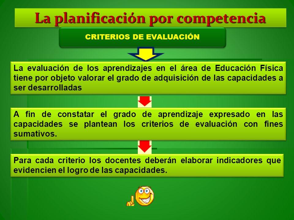 La planificación por competencia CRITERIOS DE EVALUACIÓN Para cada criterio los docentes deberán elaborar indicadores que evidencien el logro de las c