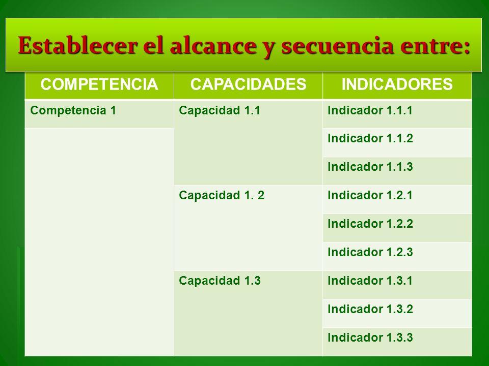 COMPETENCIACAPACIDADESINDICADORES Competencia 1Capacidad 1.1Indicador 1.1.1 Indicador 1.1.2 Indicador 1.1.3 Capacidad 1. 2Indicador 1.2.1 Indicador 1.