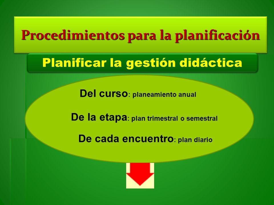 Procedimientos para la planificación Planificar la gestión didáctica Del curso : planeamiento anual De la etapa : plan trimestral o semestral De cada