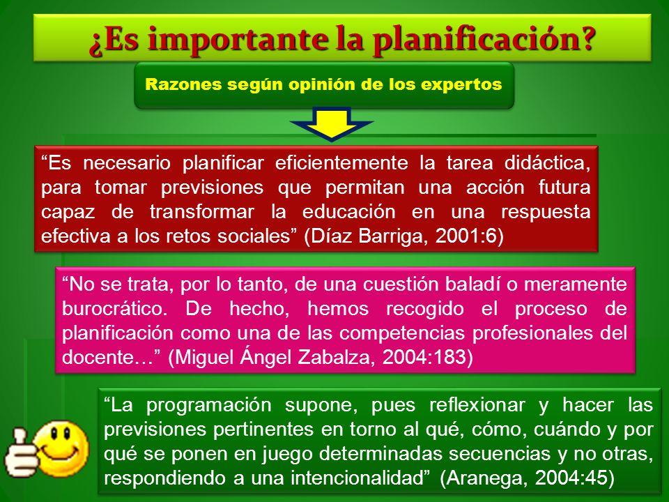 ¿Es importante la planificación? Razones según opinión de los expertos Es necesario planificar eficientemente la tarea didáctica, para tomar prevision