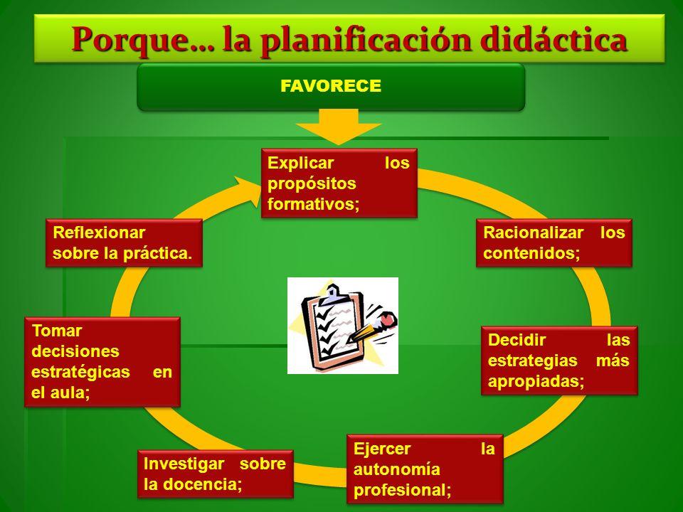 Porque… la planificación didáctica FAVORECE Explicar los propósitos formativos; Reflexionar sobre la práctica. Racionalizar los contenidos; Decidir la