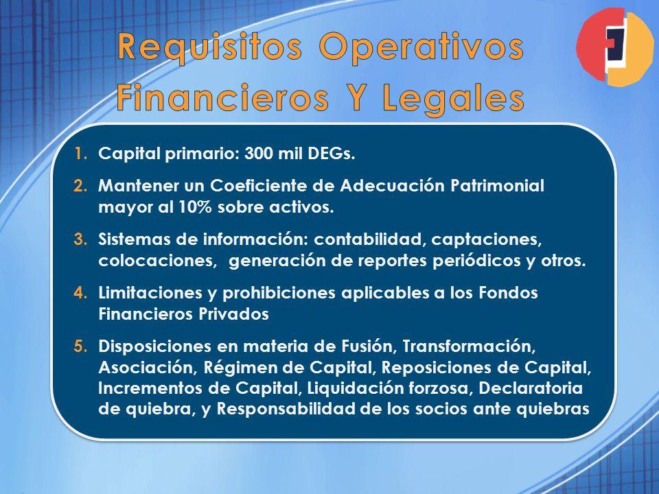 1.Capital primario: 300 mil DEGs. 2.Mantener un Coeficiente de Adecuación Patrimonial mayor al 10% sobre activos. 3.Sistemas de información: contabili