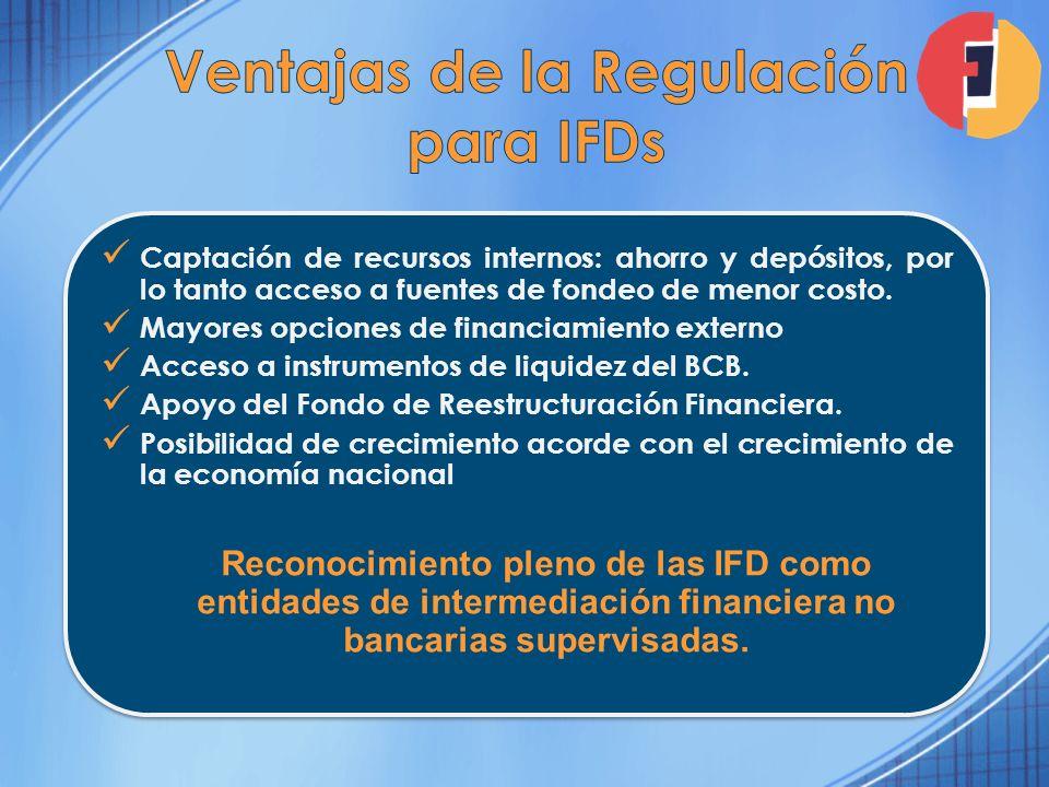 Captación de recursos internos: ahorro y depósitos, por lo tanto acceso a fuentes de fondeo de menor costo. Mayores opciones de financiamiento externo