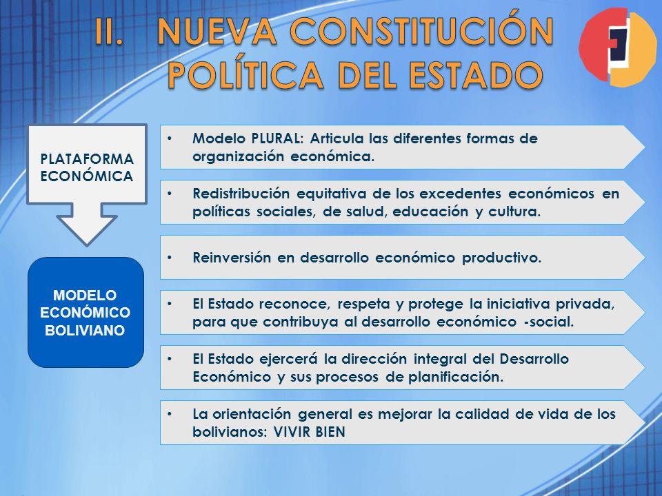 PLATAFORMA ECONÓMICA Modelo PLURAL: Articula las diferentes formas de organización económica. MODELO ECONÓMICO BOLIVIANO La orientación general es mej