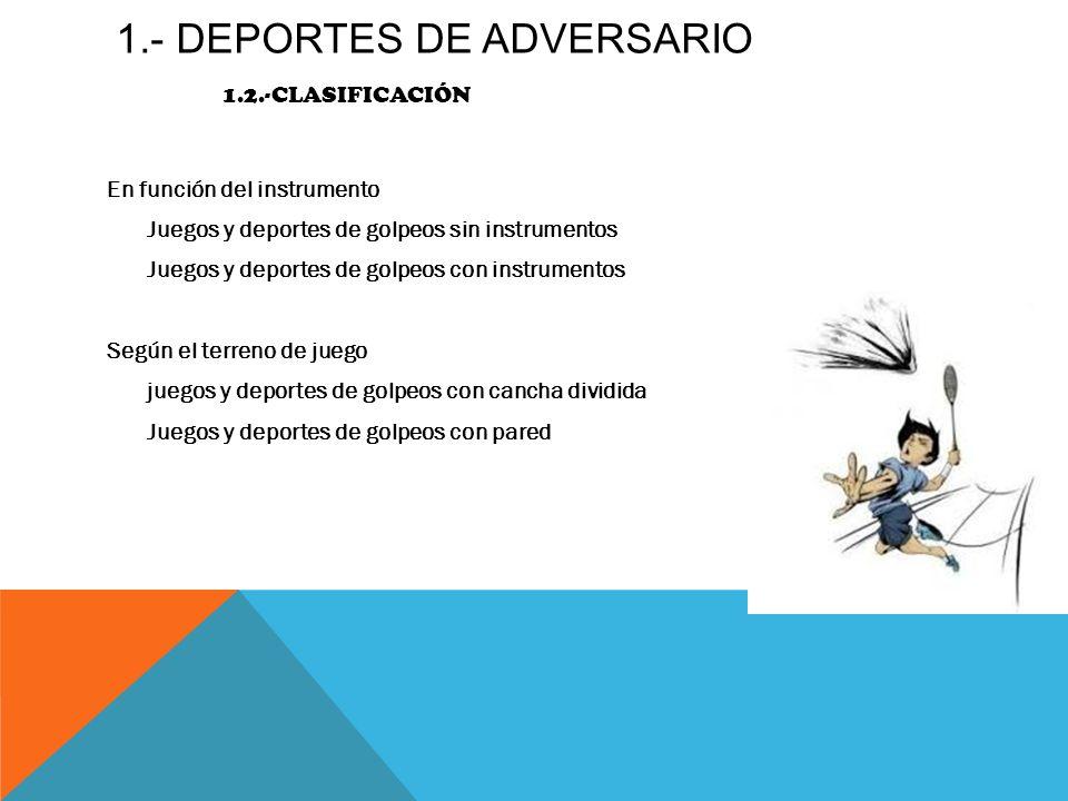 1.- DEPORTES DE ADVERSARIO 1.2.-CLASIFICACIÓN En función del instrumento Juegos y deportes de golpeos sin instrumentos Juegos y deportes de golpeos co