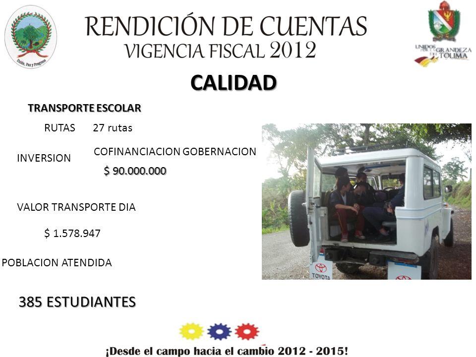 ALIMENTACION ESCOLAR N° RACIONES - DESAYUNOS CALIENTES 1210 COFINANCIACION ICBF MUNICIPIO $ 171.452.729 $ 35.651.731 TOTAL INVERSION $ 207.104.460