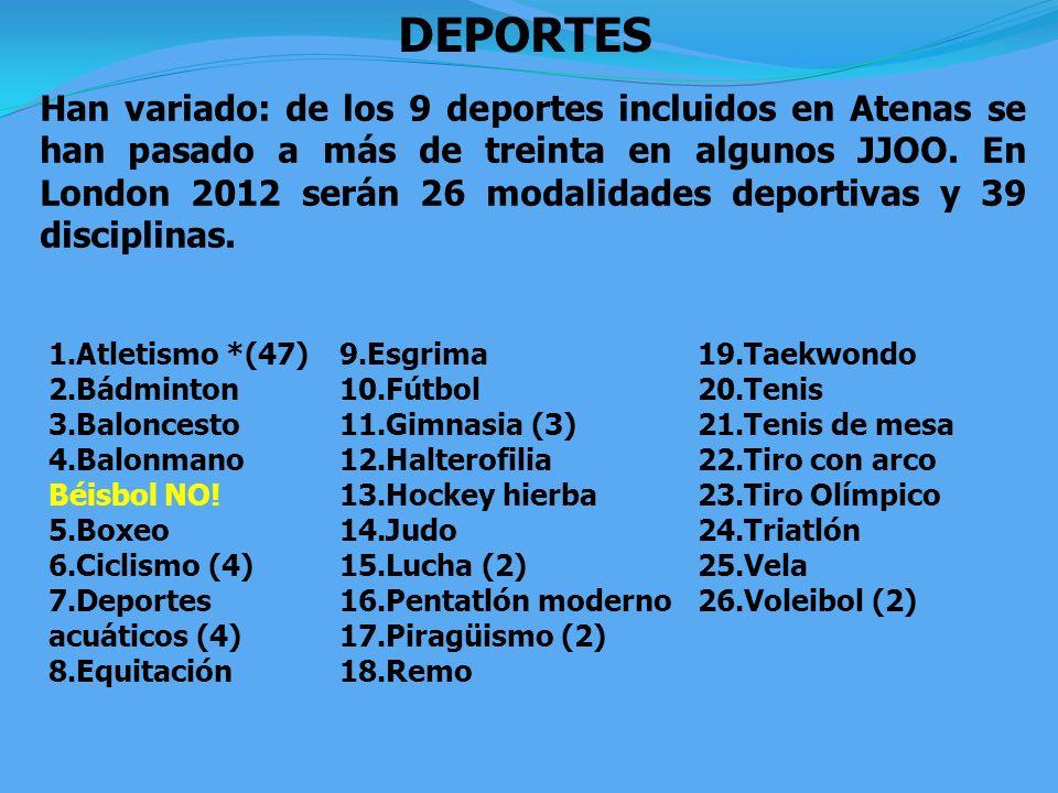 DEPORTES Han variado: de los 9 deportes incluidos en Atenas se han pasado a más de treinta en algunos JJOO. En London 2012 serán 26 modalidades deport