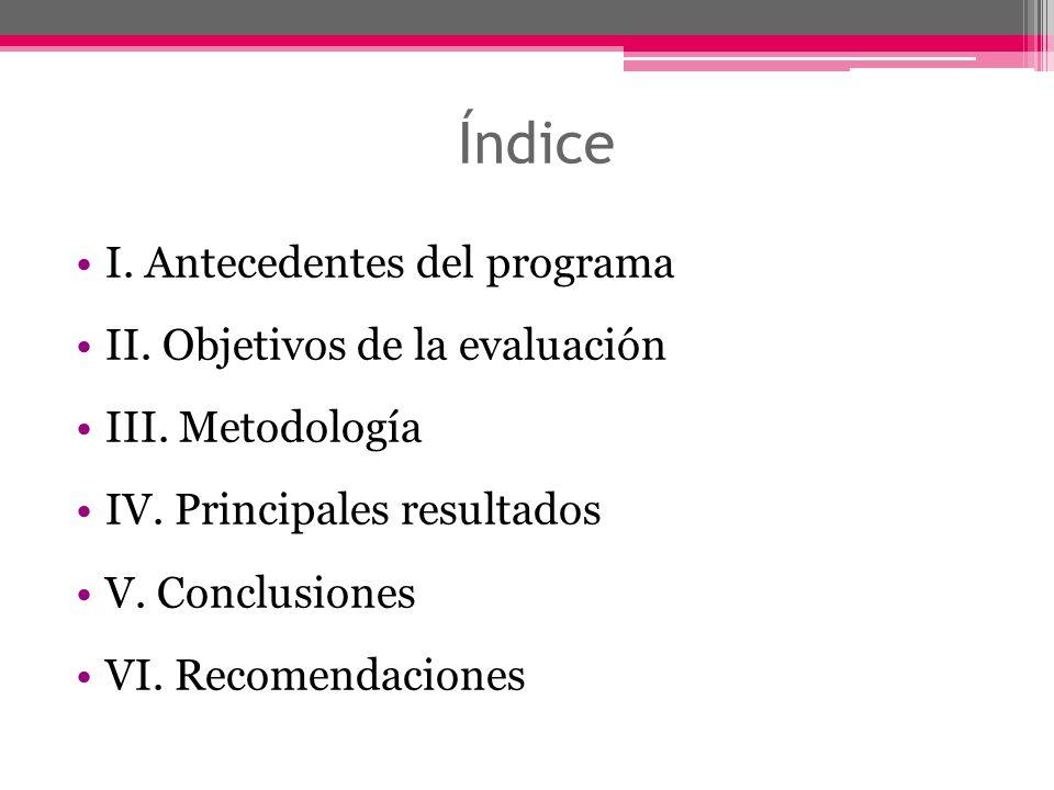 Índice I. Antecedentes del programa II. Objetivos de la evaluación III. Metodología IV. Principales resultados V. Conclusiones VI. Recomendaciones