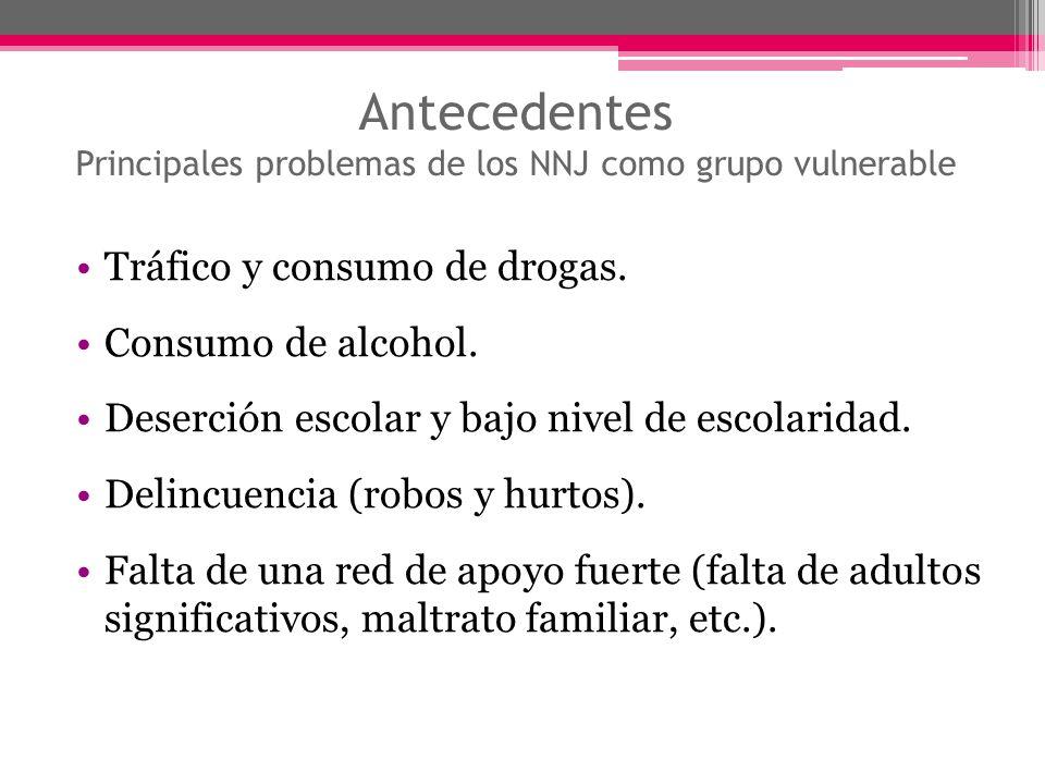 Antecedentes Principales problemas de los NNJ como grupo vulnerable Tráfico y consumo de drogas. Consumo de alcohol. Deserción escolar y bajo nivel de