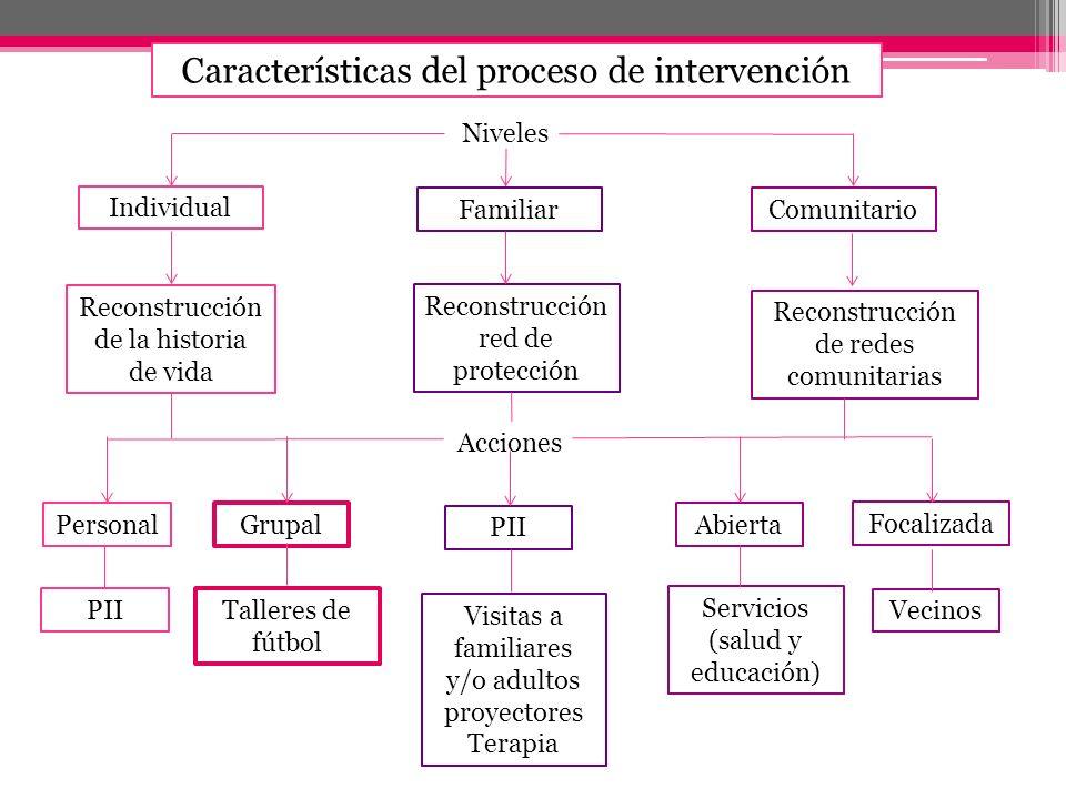 Características del proceso de intervención Individual FamiliarComunitario Niveles Reconstrucción de la historia de vida Reconstrucción red de protecc