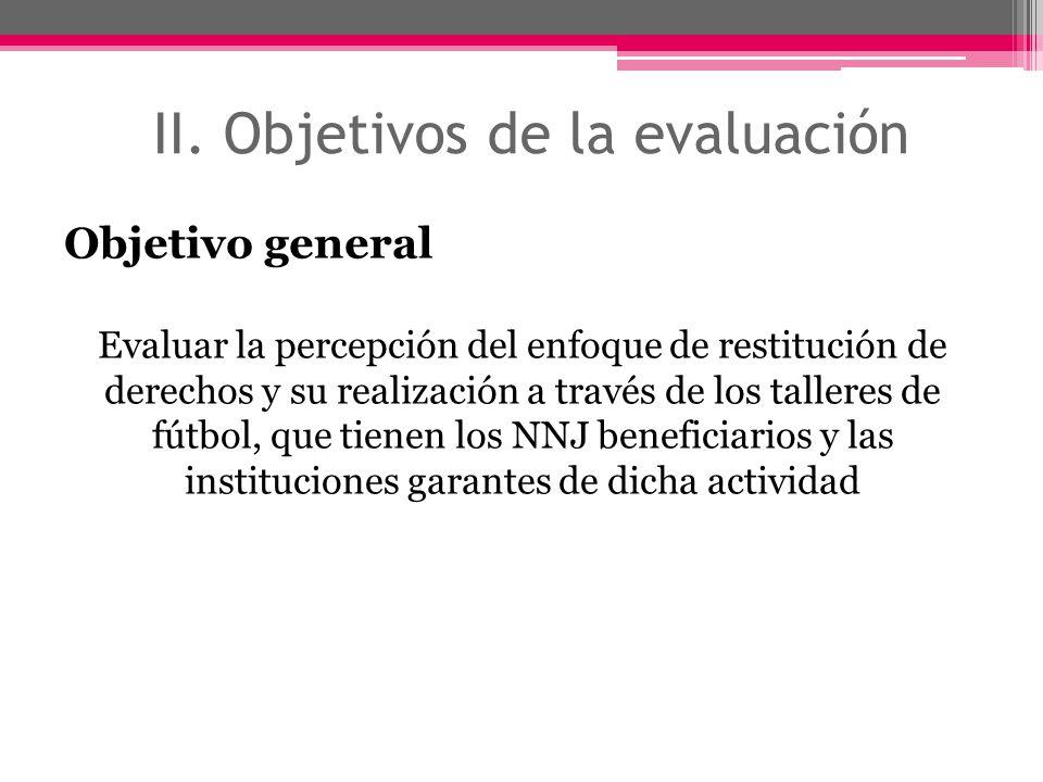 II. Objetivos de la evaluación Objetivo general Evaluar la percepción del enfoque de restitución de derechos y su realización a través de los talleres