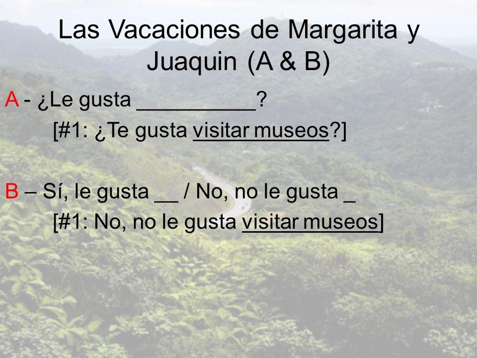 Las Vacaciones de Margarita y Juaquin (A & B) A - ¿Le gusta __________? [#1: ¿Te gusta visitar museos?] B – Sí, le gusta __ / No, no le gusta _ [#1: N
