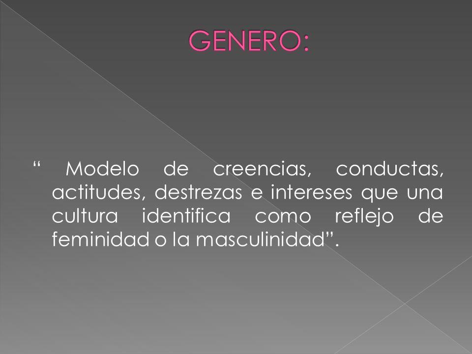 Modelo de creencias, conductas, actitudes, destrezas e intereses que una cultura identifica como reflejo de feminidad o la masculinidad.