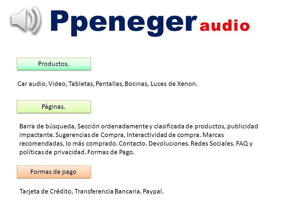 Ppeneger audio Productos. Car audio, Video, Tabletas, Pantallas, Bocinas, Luces de Xenon. Páginas. Barra de búsqueda, Sección ordenadamente y clasific