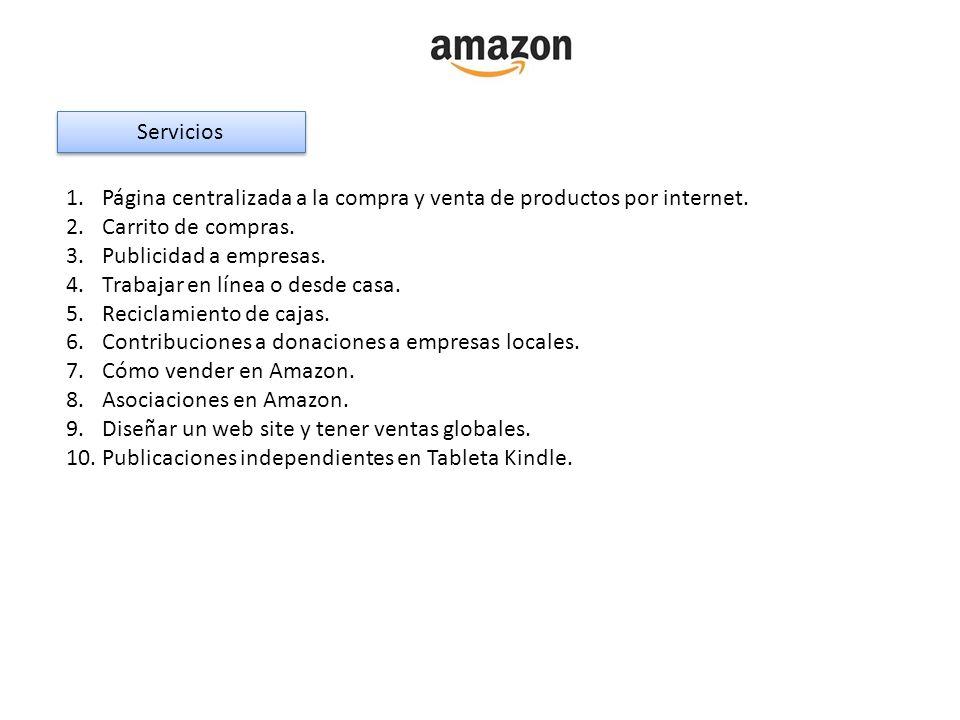 Servicios 1.Página centralizada a la compra y venta de productos por internet. 2.Carrito de compras. 3.Publicidad a empresas. 4.Trabajar en línea o de