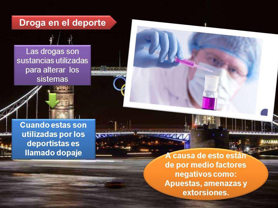Droga en el deporte Las drogas son sustancias utilizadas para alterar los sistemas Cuando estas son utilizadas por los deportistas es llamado dopaje A