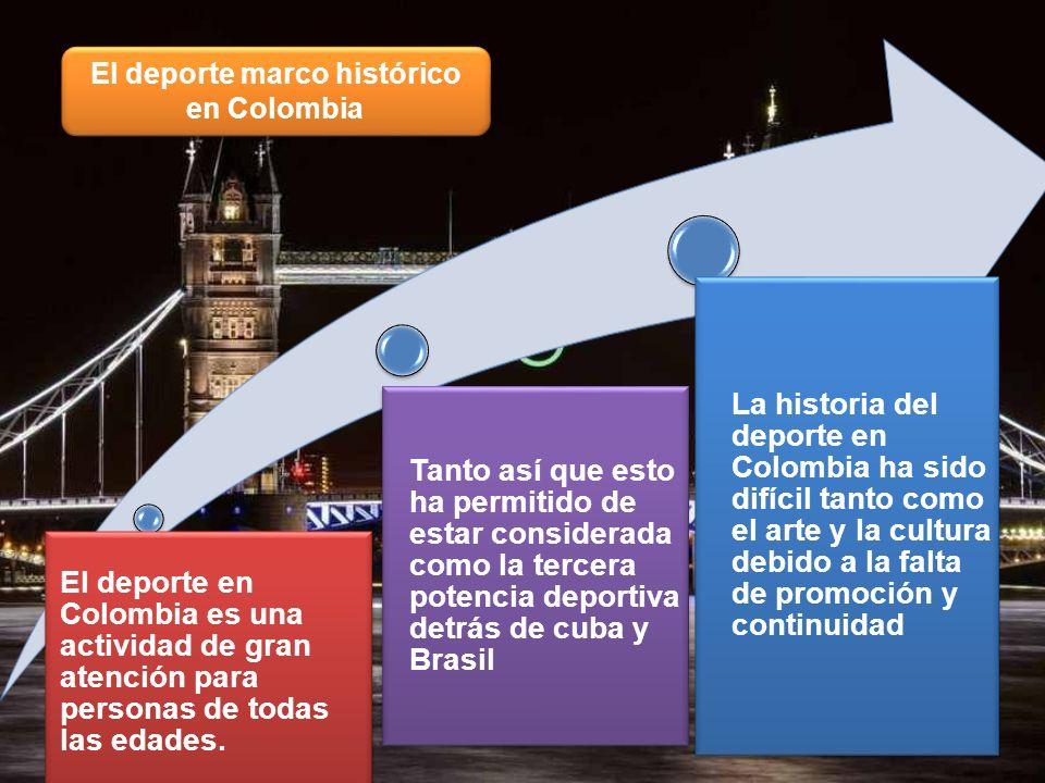 El deporte marco histórico en Colombia El deporte en Colombia es una actividad de gran atención para personas de todas las edades. Tanto así que esto