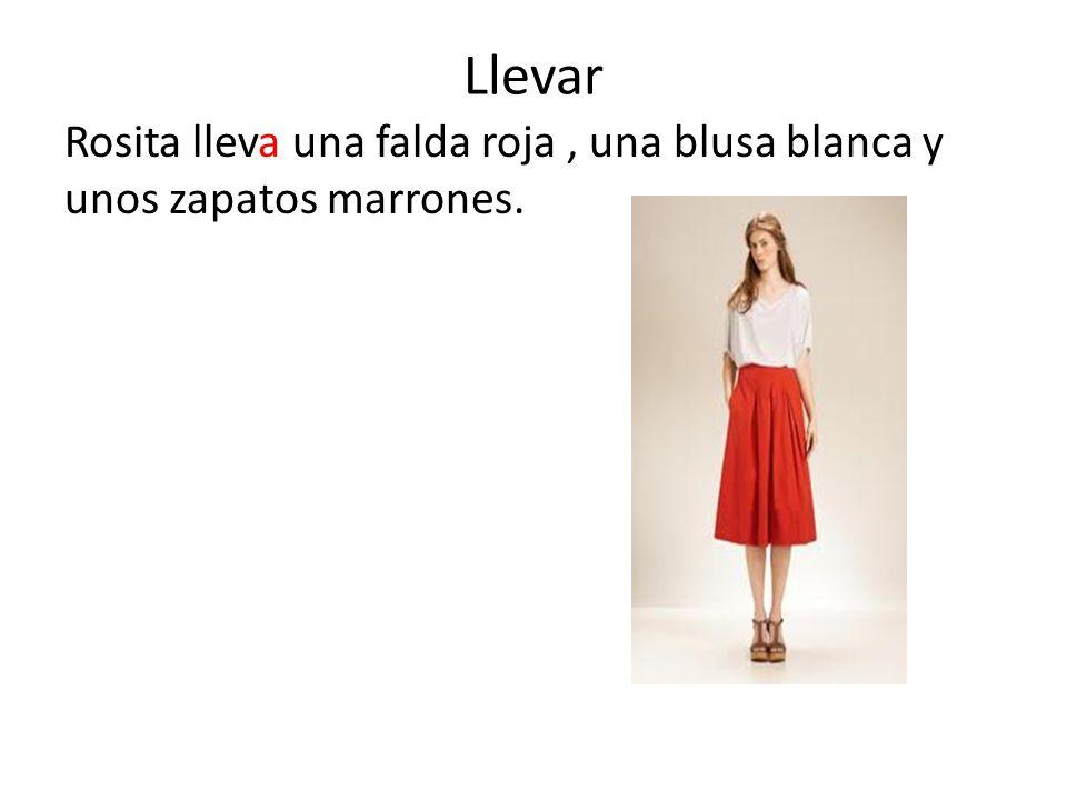 Llevar Rosita lleva una falda roja, una blusa blanca y unos zapatos marrones.