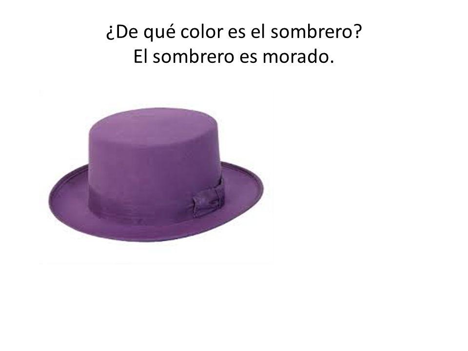 ¿De qué color es el sombrero? El sombrero es morado.