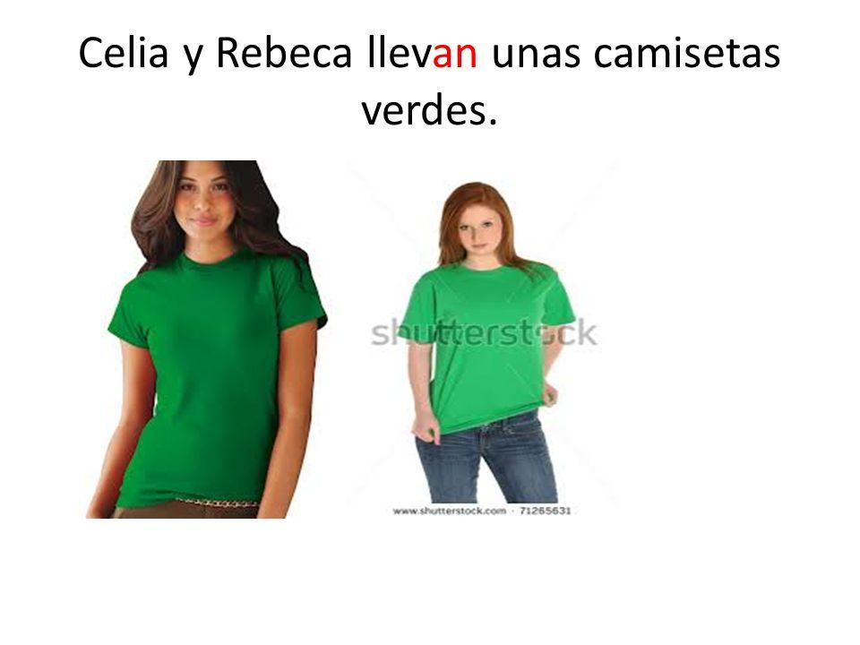 Celia y Rebeca llevan unas camisetas verdes.