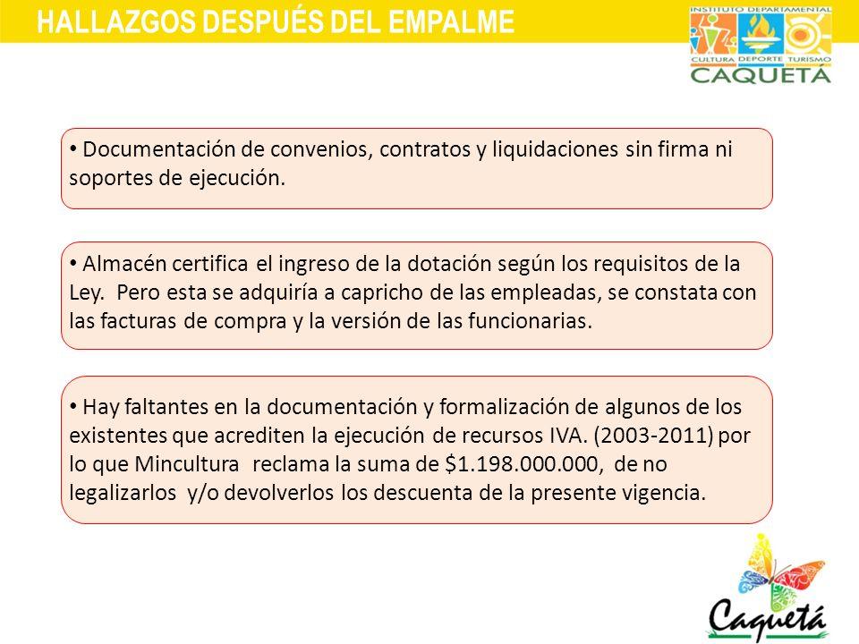 HALLAZGOS DESPUÉS DEL EMPALME Documentación de convenios, contratos y liquidaciones sin firma ni soportes de ejecución. Almacén certifica el ingreso d
