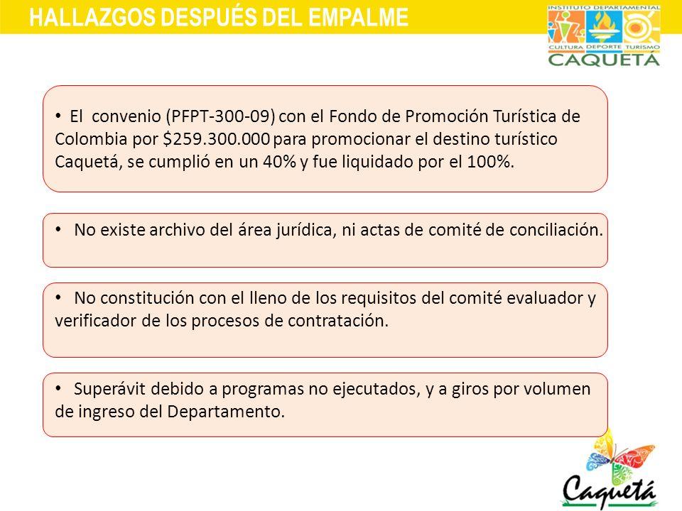 HALLAZGOS DESPUÉS DEL EMPALME El convenio (PFPT-300-09) con el Fondo de Promoción Turística de Colombia por $259.300.000 para promocionar el destino t