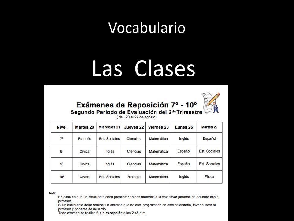 Vocabulario Las Clases