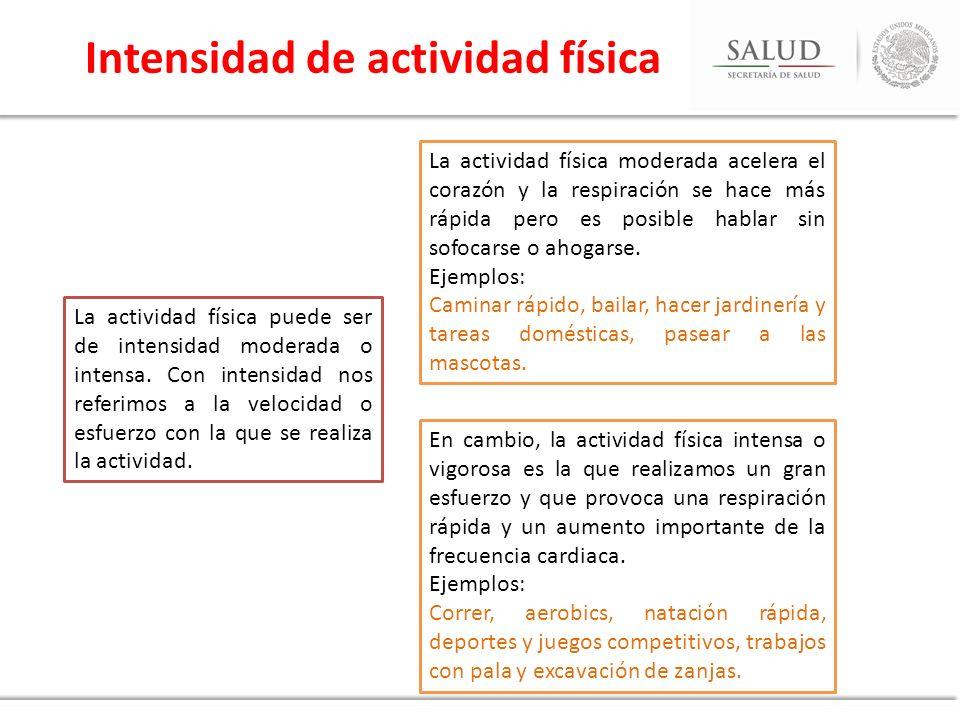 Intensidad de actividad física La actividad física puede ser de intensidad moderada o intensa. Con intensidad nos referimos a la velocidad o esfuerzo