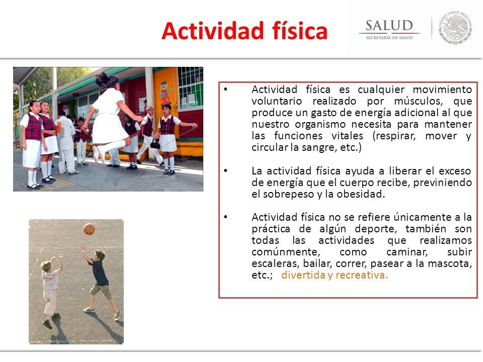 Actividad física es cualquier movimiento voluntario realizado por músculos, que produce un gasto de energía adicional al que nuestro organismo necesit